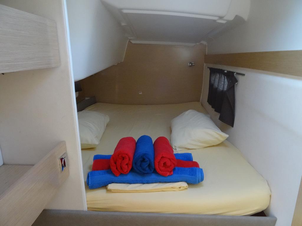 Fountaine-Pajot Mahé 36 evolution cabine arrière tribord